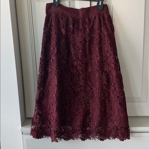 Ann Taylor Factory Burgundy Lace A-Line Skirt